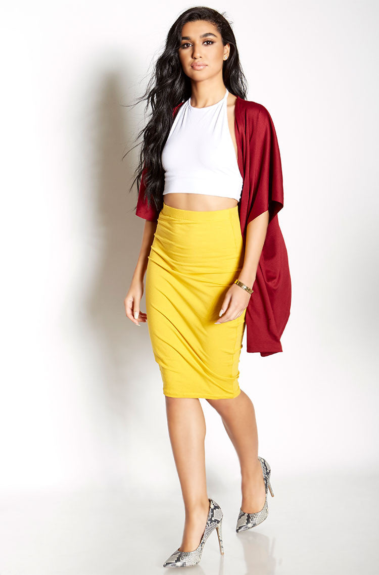Mustard Essential Cotton Bodycon Midi Skirt Plus Sizes