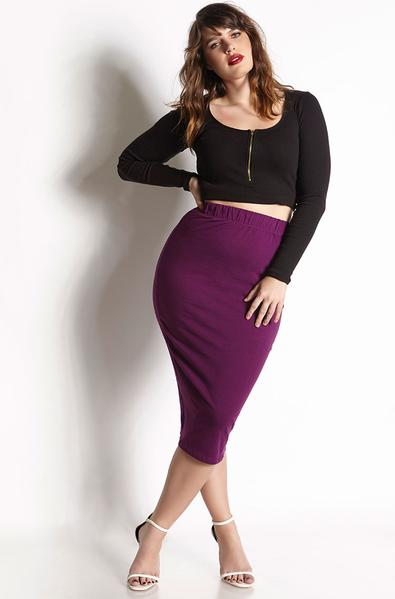 Purple Essential Cotton Bodycon Midi Skirt Plus Sizes