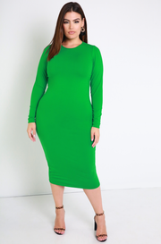 Green Essential Long Sleeve Crew Neck Bodycon Midi Dress plus sizes