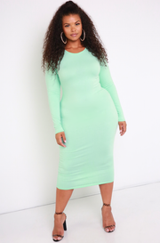 Mint Essential Long Sleeve Crew Neck Bodycon Midi Dress plus sizes