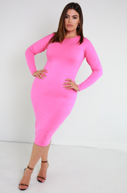 Pink Essential Long Sleeve Crew Neck Bodycon Midi Dress plus sizes