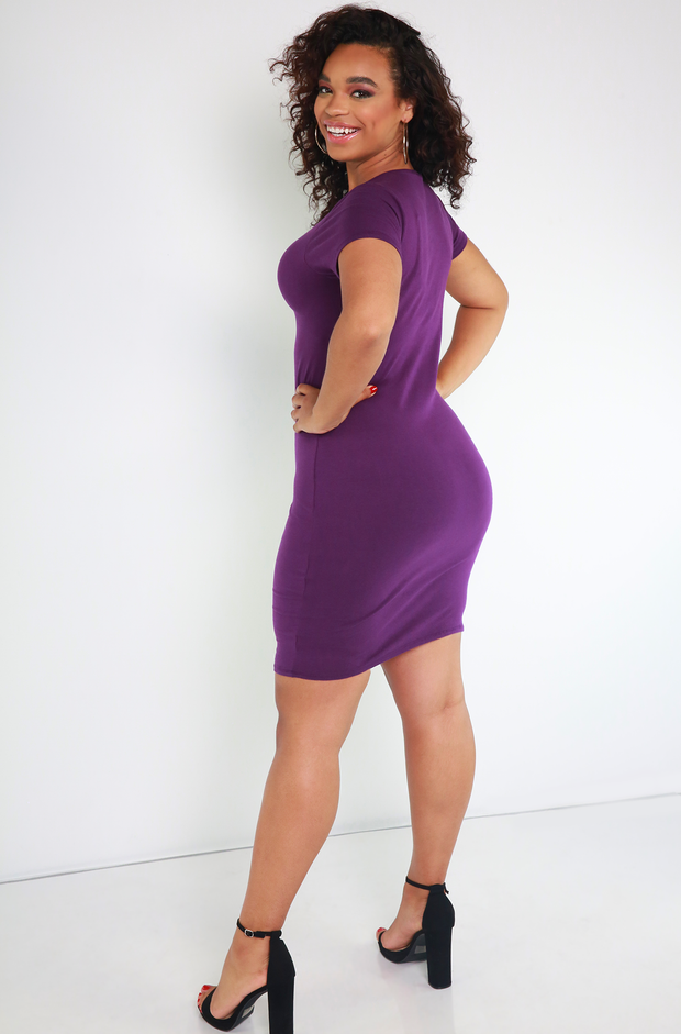 Purple Short Sleeve Crew Neck Mini Dress Plus Sizes