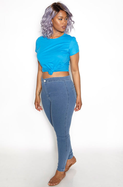 Turquoise Crew Neck T-Shirt plus sizes