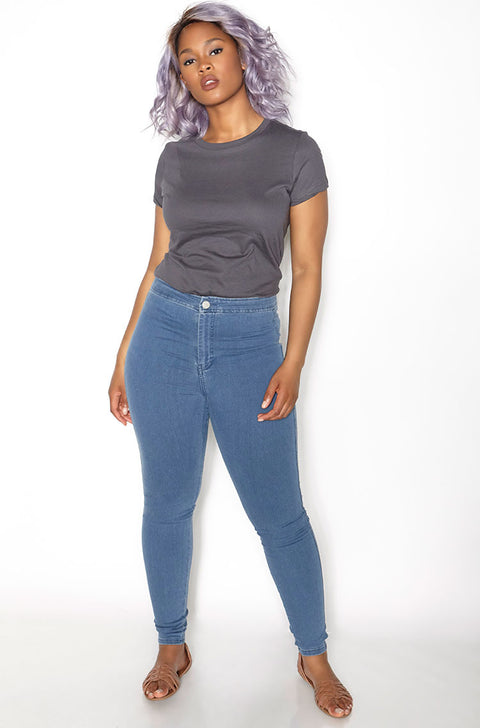 Charcoal Crew Neck T-Shirt plus sizes