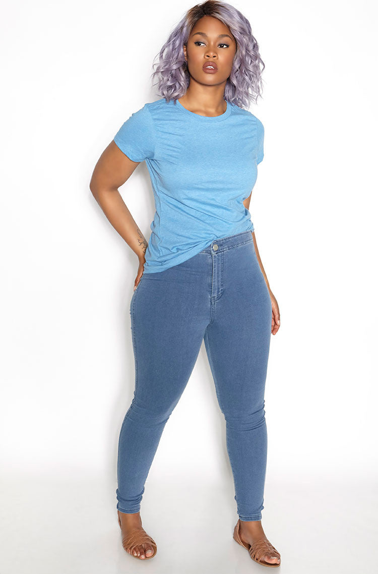 Heathered Blue Crew Neck T-Shirt plus sizes