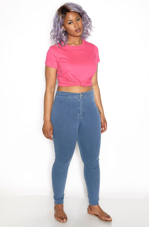Pink Crew Neck T-Shirt plus sizes