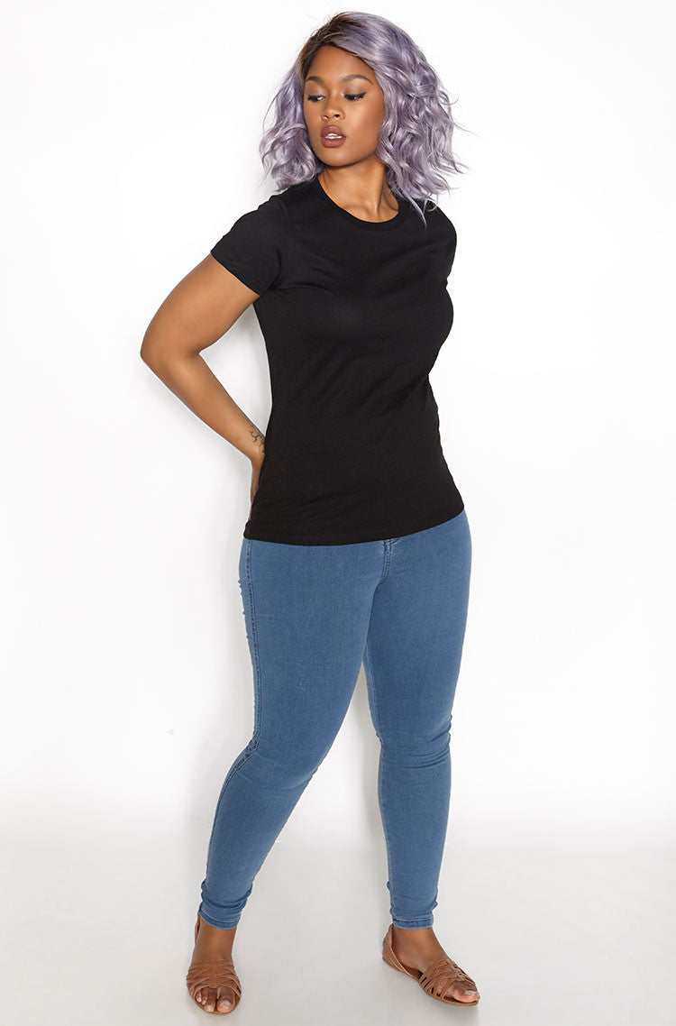 Black Crew Neck T-Shirt plus sizes