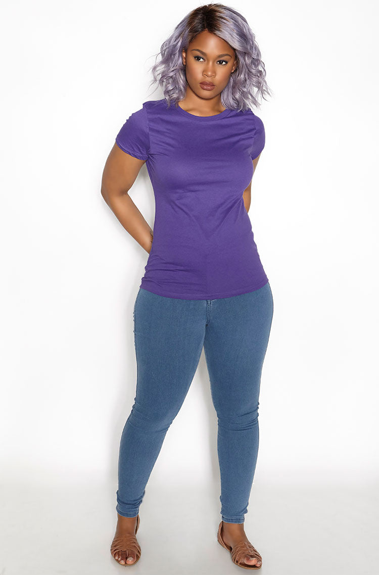 Purple Crew Neck T-Shirt plus sizes
