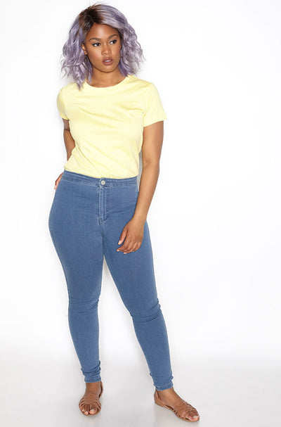 Yellow Crew Neck T-Shirt plus sizes