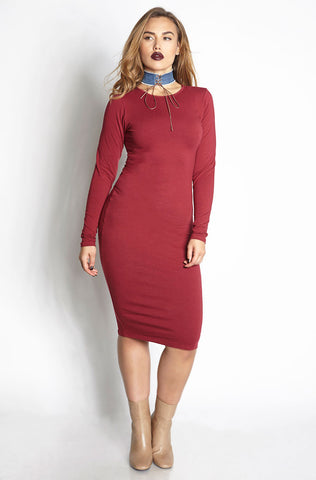 Rebdolls Essential Short Sleeve V-Neck Midi Dress - Purple