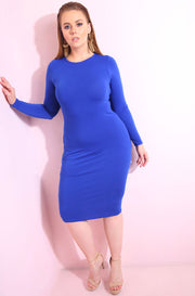 Royal Blue Essential Long Sleeve Crew Neck Bodycon Midi Dress plus sizes