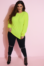 Neon Yellow Long Sleeve Neon Tall T-Shirt Plus Sizes