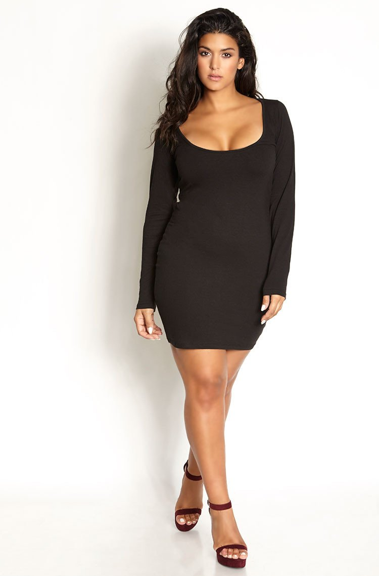 Black Essential Scoop Neck Bodycon Mini Dress