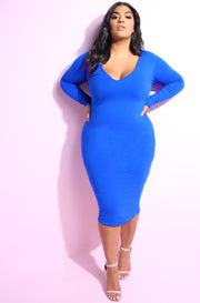 Royal Blue Essential Long Sleeve V-Neck Bodycon Midi Dress plus sizes