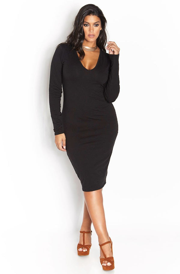 Black Essential Long Sleeve V-Neck Bodycon Midi Dress plus sizes