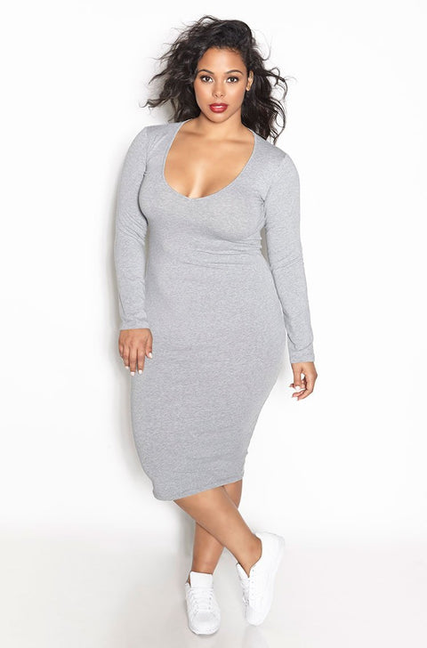 Gray Essential Long Sleeve V-Neck Bodycon Midi Dress plus sizes