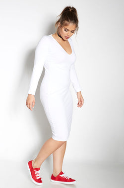 White Essential Long Sleeve V-Neck Bodycon Midi Dress plus sizes