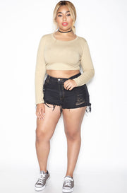 Nude Essential Crew Neck Long Sleeve Crop Top plus sizes