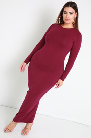 Rebdolls Essential Long Sleeve Crew Neck Bodycon Maxi Dress