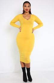 Mustard Essential Long Sleeve V-Neck Bodycon Midi Dress plus sizes