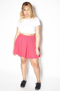 Fuchsia Essential Mini Skater Skirt Plus Sizes