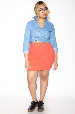 """Who Knows"" Button Down Denim Skirt"