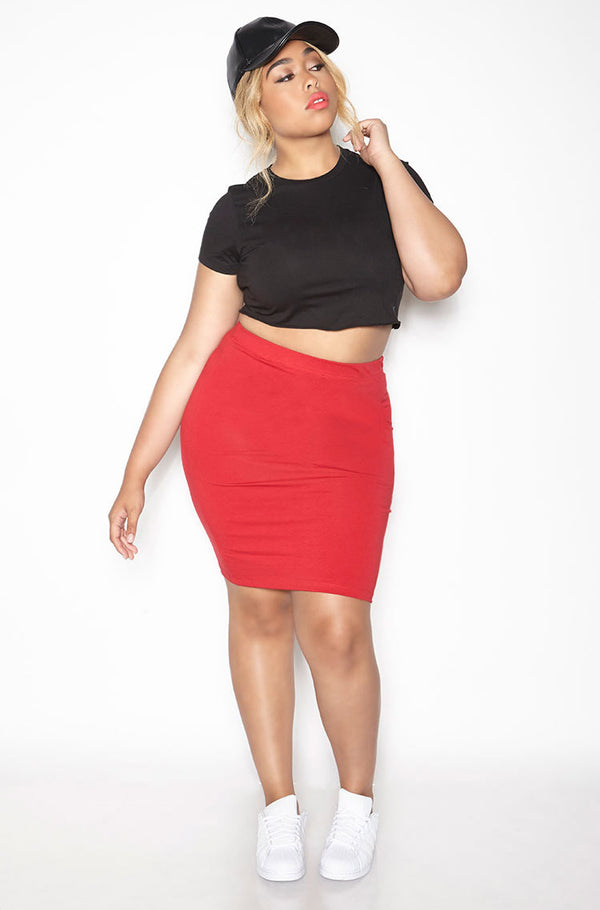 Red Essential Cotton Bodycon Mini Skirt  Plus Sizes