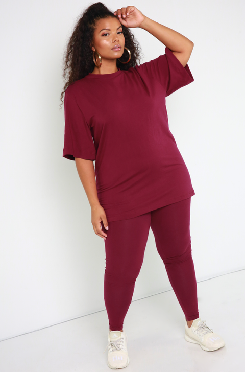 Burgundy Essential Oversized Long Line Top Plus Sizes