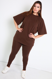 Brown Essential Oversized Long Line Top Plus Sizes