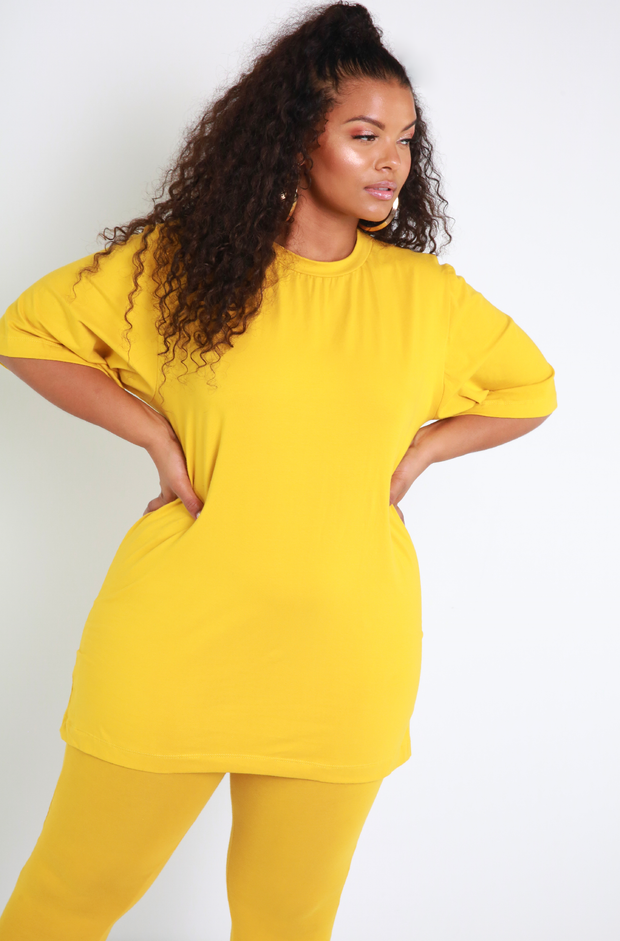 Mustard Essential Oversized Long Line Top Plus Sizes