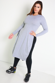Gray Essential Side Slit Top Plus Sizes