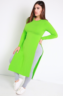 Lime Green Essential Side Slit Top Plus Sizes