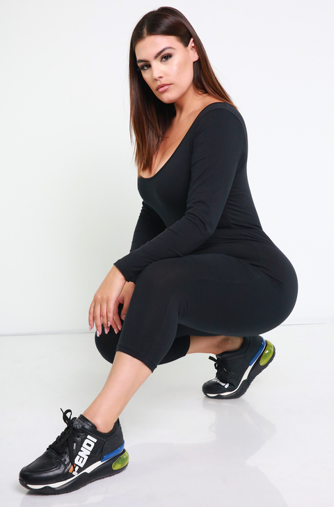 Black Essential Scoop Neck Jumpsuit Plus Sizes