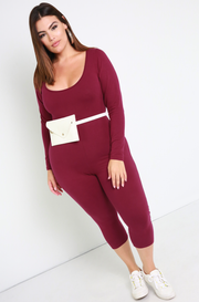 Burgundy Essential Scoop Neck Jumpsuit Plus Sizes
