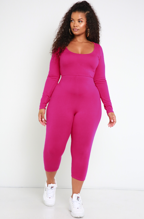 Fuchsia Essential Scoop Neck Jumpsuit Plus Sizes