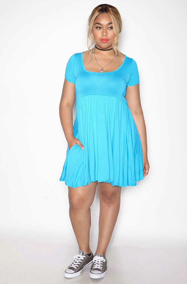 Blue Essential Scoop Neck Mini Skater Dress With Pockets plus sizes