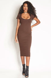 Brown Essential Short Sleeve Scoop Neck Bodycon Midi Dress plus sizes