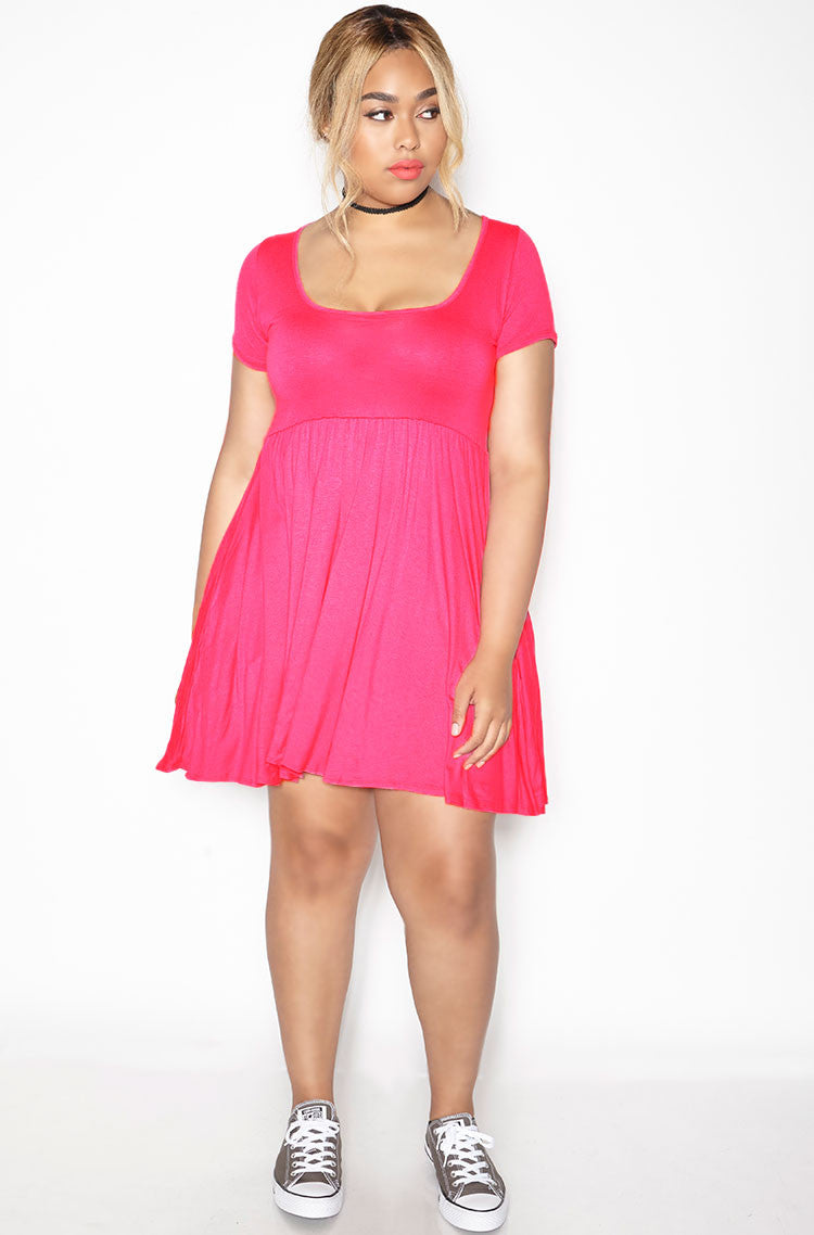 3c62f290a7b Rebdolls Essential Scoop Neck Mini Skater Dress With Pockets-Fuschia ...