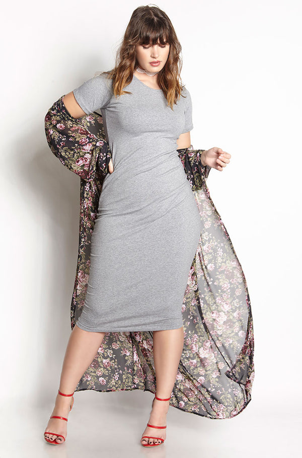 Gray Essential Short Sleeve Crew Neck Bodycon Midi Dress plus sizes