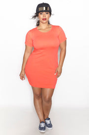 Coral Short Sleeve Crew Neck Mini Dress Plus Sizes