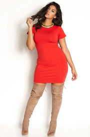 Red Short Sleeve Crew Neck Mini Dress Plus Sizes