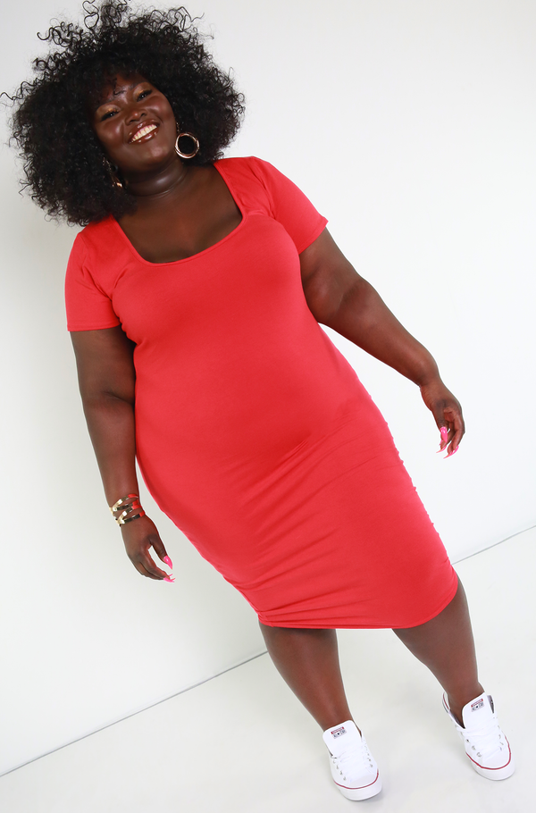 Red Essential Short Sleeve Scoop Neck Bodycon Midi Dress plus sizes