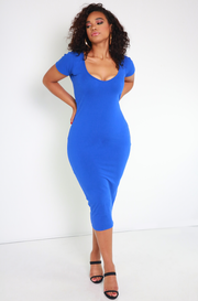 Royal Blue Essential Short Sleeve Scoop Neck Bodycon Midi Dress plus sizes