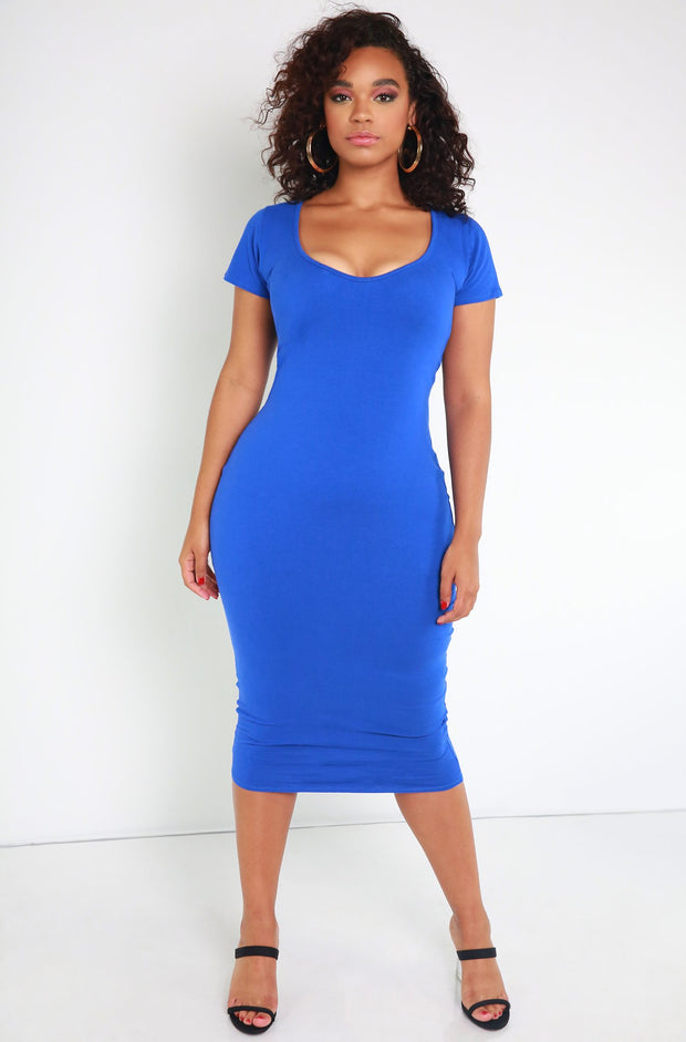 Purple Essential Short Sleeve Scoop Neck Bodycon Midi Dress plus sizes
