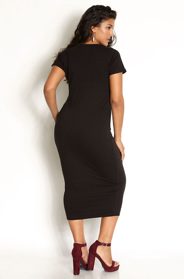 Black Essential Short Sleeve Scoop Neck Bodycon Midi Dress plus sizes
