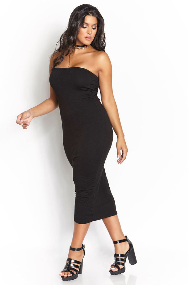 Black Essential Strapless Bodycon Midi Dress plus sizes