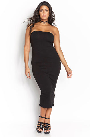 "Rebdolls ""The Hook Up"" Ribbed Turtleneck Midi Dress"