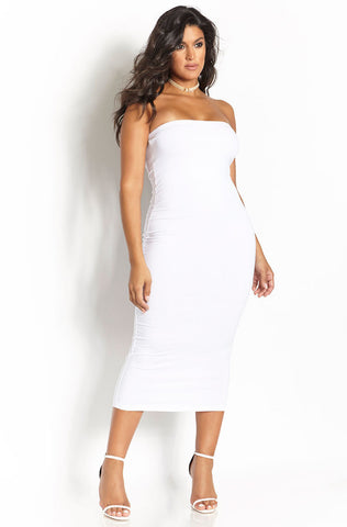 Rebdolls Essential Cotton Bodycon Maxi Skirt - White