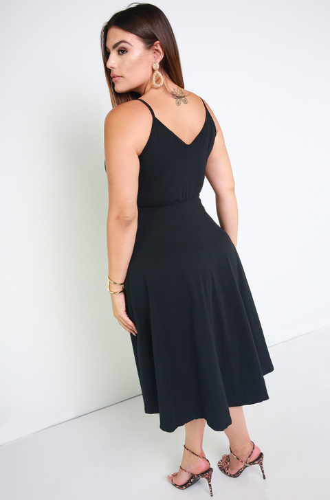 Black Essential Strappy Skater Midi Dress w. Pockets