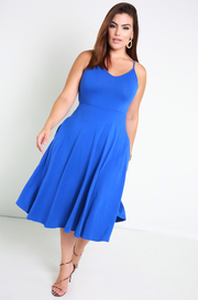Royal Blue Essential Strappy Skater Midi Dress w. Pockets